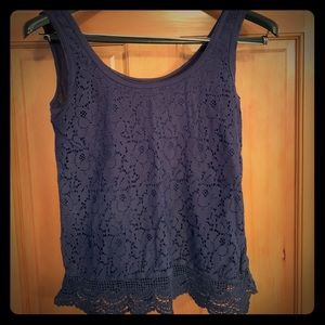 Mossimo Supply Co Blue Lace Tank Top